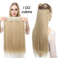 """SARLA 24"""" Straight 1Pc 3/4 Full Head Clip In Hair Extension Synthetic Hair Extensions Japan Heat Resistant Fiber 50 Colors Available 666(4BH27#)"""