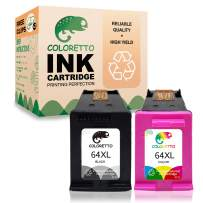 Coloretto Re-Manufactured Printer Ink Cartridge Replacement for HP 64 64XL 64 XL, Ink Level Display for Envy Photo 6220 6230 6232 6255 6258 7120 7130 7132 7155 7158 7164 (1 Black+ 1 Color