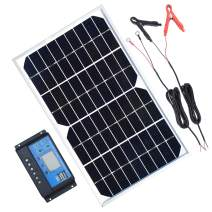 TP-solar Solar Panel Kit 10W 12V Monocrystalline Trickle Battery Charger Maintainer + 10A Charge Controller + Cable with Alligator Clip O-Ring Terminal for Car RV Vehicle Marine Boat Off Grid System