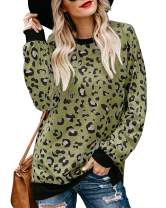 Daomumen Womens Leopard Pullover Sweatshirts Casual Crew Neck Long Sleeve Tops T-Shirts
