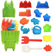 SUNYPLAY 15 Piece Beach Sand Toys Set, Beach Toys with Castle Bucket, Shovel, Rake, Watering Can, Animal and Castle Molds for Kids, Toddlers