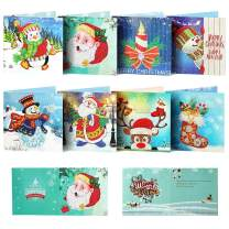 OWAY Diamond Painting Christmas Cards Kit Paint with Diamonds Christmas Greeting Cards Christmas DIY Crafts for Holiday, Friends and Family - 8 Pack