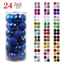 """GameXcel Christmas Balls Ornaments for Xmas Tree - Shatterproof Christmas Tree Decorations Large Hanging Ball Blue 2.5"""" x 24 Pack"""