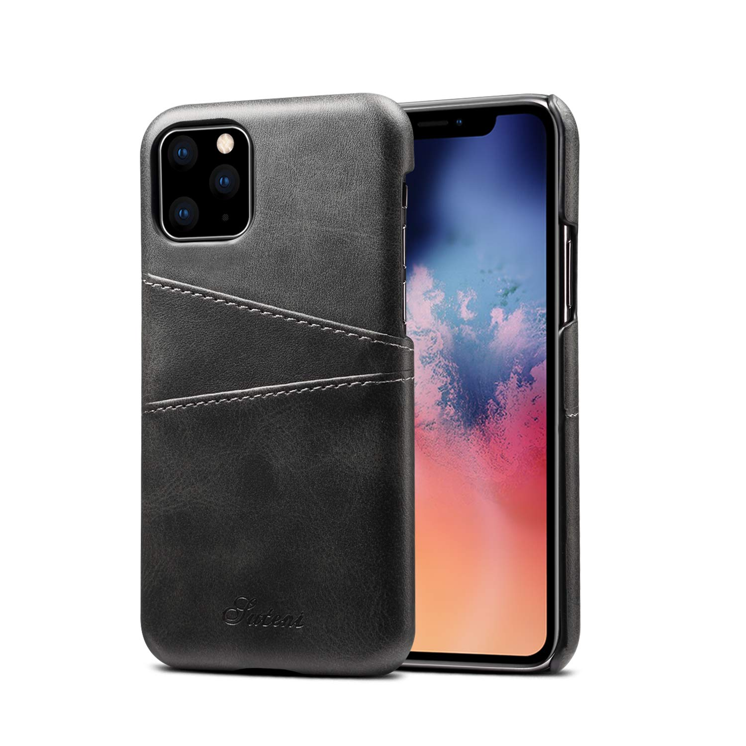 iPhone 11 Pro Max Wallet Case,KelaSip Slim PU Leather Back Protective Case Cover with 2 Credit Card Holder,Black,for iPhone 11 Pro Max Case
