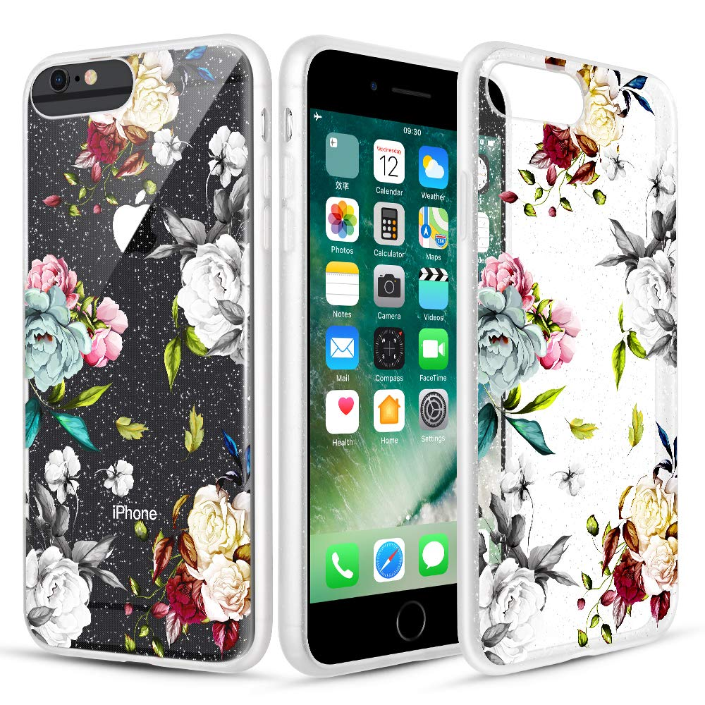 Caka Clear Case for iPhone 6S Plus Floral Glitter Clear Case Flower Pattern Teal Rose Slim Girly Anti Scratch TPU Crystal Glitter Case for iPhone 6 Plus 6S Plus 7 Plus 8 Plus (5.5 inch) (Teal White)