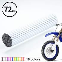 JOYON 72 Pcs Universal Spoke Skins Covers Coats for Motorcycle Dirt Bike Kawasaki Honda Yamaha BMW Suzuki(White)