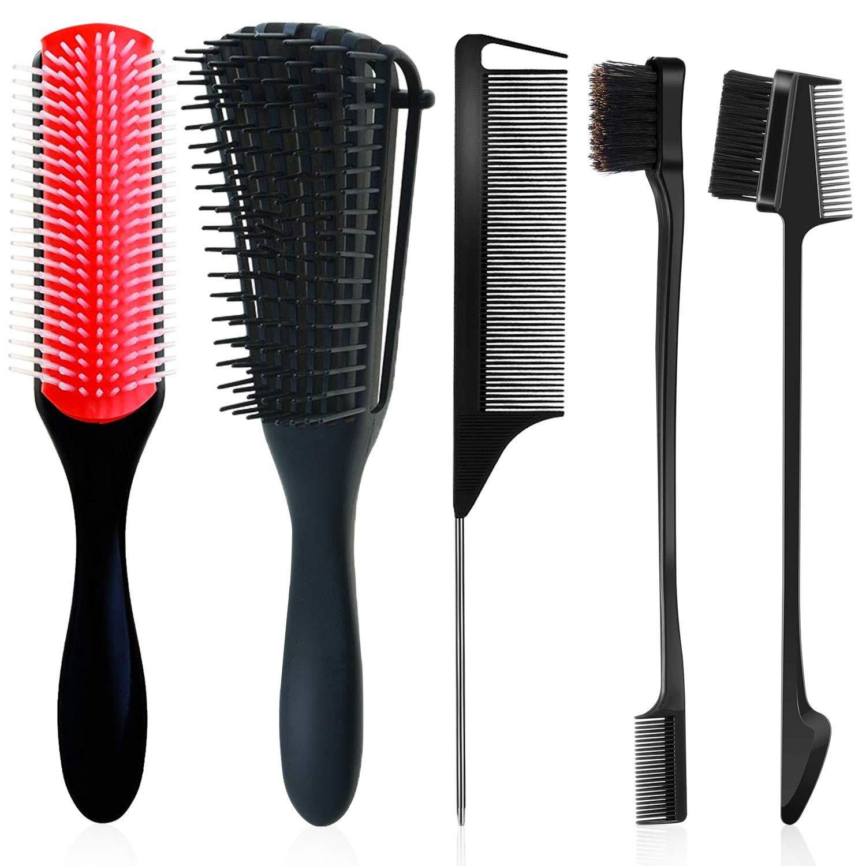 9-Row Cushion Nylon Bristle Shampoo Brush Detangling Brush for Curly Hair, Detangler Brush Hair Detangler 2 Different Edge Brush Double Sided Rattail Comb Parting Braids Comb