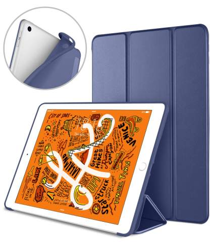 DTTO iPad Mini 5th Generation 2019 Case, [Gentle Series] Smart Cover Trifold Stand Soft Back Cover for iPad Mini 5th Gen 2019/iPad Mini 4 2015 [Auto Sleep/Wake], Navy Blue
