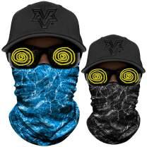 WTACTFUL 2 Pack - UPF 50+ Elastic Seamless Bandana Moisture Wicking Neck Gaiter Headband Face Mask for Outdoor Sport