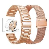 Henoda Compatible Galaxy Watch 42mm Bands, 20mm Stainless Steel Metel Band with Screen Protector Case Replacement Strap for Samsung Galaxy Watch SM-R810/SM-R800, Rose Gold, 20mm