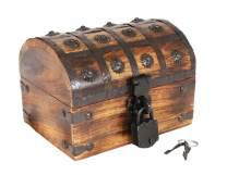 Well Pack Box Pirate Treasure Chest Wooden Iron Lock Skeleton Key Small 11x 6 x 5 Wood Storage Decorative Keepsake Box