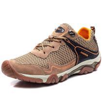 FLARUT Hiking Shoes Men Outdoor Sports Backpacking Boots Trekking Climbing Running Sneakers(A-Khaki,EU39)