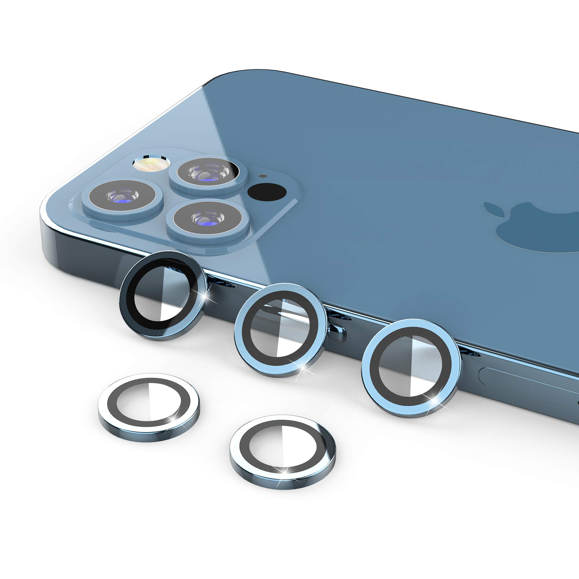 [5 Pack] UniqueMe Compatible with iPhone 12 Pro 6.1 inch Camera Lens Protector Camera Cover Protection [Easy Installation][Anti-Scratch] [Fit Well for Camera]【Not for iPhone 12 Pro Max】- Pacific Blue
