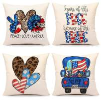 4th of July Pillow Covers 18x18 Set of 4 Independence Day Memorial Patriotic Farmhouse Decor Holiday Decorations Throw Cushion Case for Home Couch(Peace Love, Home Free Brave, Heart, Truck)
