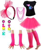 Womens 80s Costume Accessories Set I Love The 80's T-Shirt for 1980s Theme Party (S (for Adults), Rose)