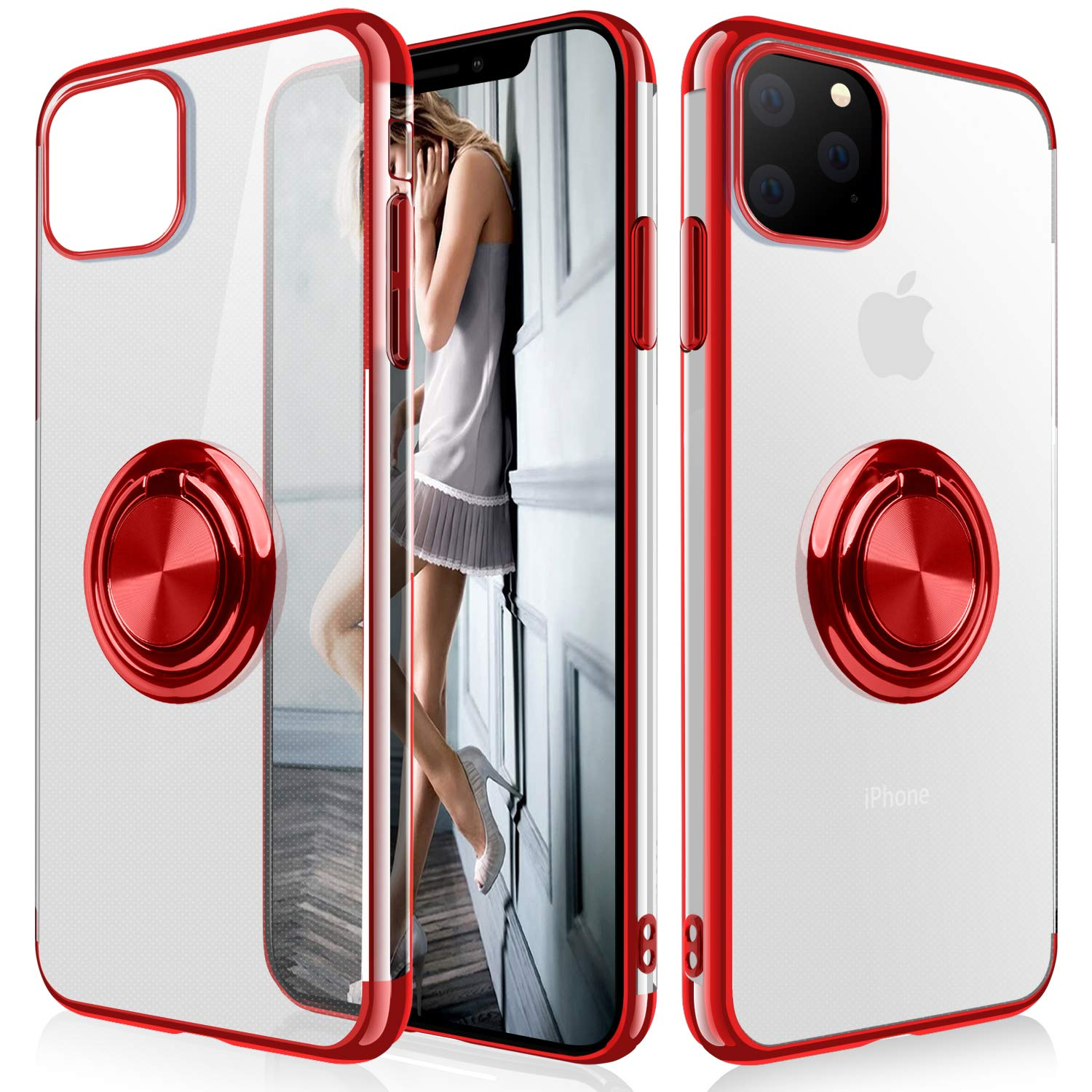 iPhone 11 Pro Max Case,WATACHE Clear Crystal Ultra Slim Soft TPU Electroplated Frame Case Cover with Built-in 360 Rotatable Ring Kickstand for iPhone 11 Pro Max,Red