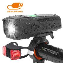 victagen USB Rechargeable Bike Light & Taillight Set,Powerful 450 Lumens,Waterproof LED Bicycle Headlight for Commuter,Cycling, Safety; Easy to Install,Fits All Bicycles,Hybrid, Road, MTB