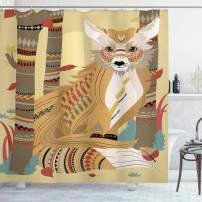 """Ambesonne Fox Shower Curtain, Animal Theme a Fluffy Wild Fox in The Forest and Tree Trunks Design Pattern Print, Cloth Fabric Bathroom Decor Set with Hooks, 70"""" Long, Light Coffee"""
