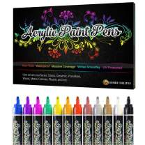 Desire Deluxe Acrylic Paint Pens for Rock Painting, Stone, Ceramic, Glass, Wood, Canvas – Set of 12 Non Toxic Water Based Markers - Great Artists Painting Supplies