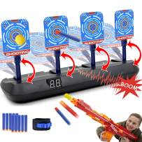 Electric Scoring Target for Nerf Guns - Auto Reset Intelligent Light Sound Effect Digital Shooting Targets, Ideal Gift Toys for Teens, Boys & Girls(2020 Update Version/4 Targets)