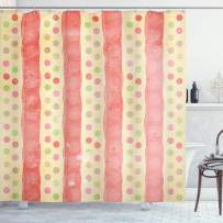 """Ambesonne Abstract Shower Curtain, Retro Stripes and Dots in Watercolor Featured Effects Nostalgic Pattern, Cloth Fabric Bathroom Decor Set with Hooks, 84"""" Long Extra, Pale Yellow"""