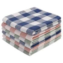 PiccoCasa 100% Cotton Kitchen Dish Cloths 6 Pack, Ultra Absorbent Dishclothes, Plaid Tea Coffee Towels for Household Cooking Cleaning, Buffalo Pattern Style, Mixed Color
