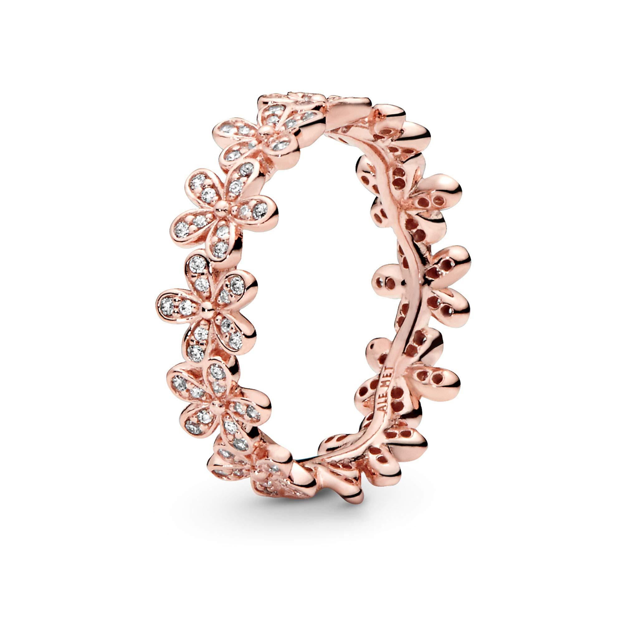 Pandora Jewelry Daisy Flower Cubic Zirconia Ring in Pandora Rose, Size 6