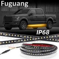 Fuguang [2PC-48inch] IP68 LED Board Running Light Truck Side Marker Flexible Step Strip Lights White & Amber Turn Signal Combo Kit (IP68)
