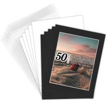 Golden State Art, Pack of 50 Black Pre-Cut 11x14 Picture Mat for 8x10 Photo with White Core Bevel Cut Mattes Sets. Includes 50 Acid-Free Bevel Cut Mats & 50 Backing Board & 50 Clear Bags