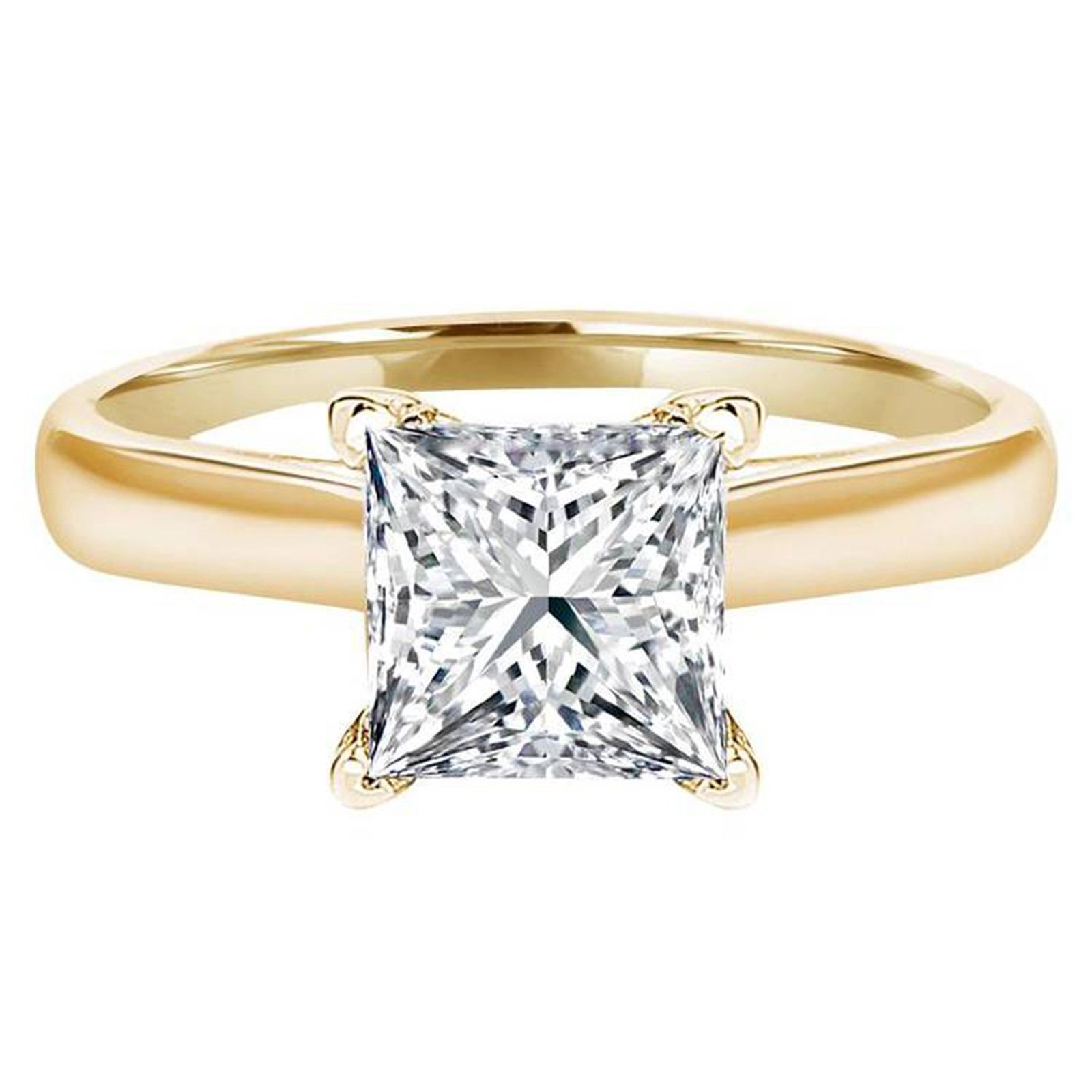0.50 ct Brilliant Princess Cut Solitaire Highest Quality Moissanite Ideal VVS1 D 4-Prong Engagement Wedding Bridal Promise Anniversary Ring in Solid Real 14k Yellow Gold for Women