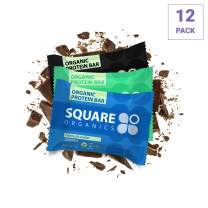Square Organics Vegan Protein Bars - Chocolate Coated Combo - 11g to 12g Protein - Organic Protein Bars are Gluten Free, Dairy Free, Soy Free, Non-GMO - Perfect Bar for Plant Based Diet - 12 Pack