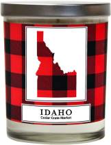 Idaho Buffalo Plaid Scented Soy Candle | Fraser Fir, Pine Needle, Cedarwood | 10 Oz. Glass Jar Candle | Made in The USA | Decorative Candles | Going Away Gifts for Friends | State Candles