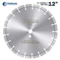 """Toolgal Diamond Blade 12"""" - (300mm) - Fast and Smooth Wet Cutting Circular Saw Blade for GP/construction materials/concrete/roof tiles - 1""""/20 arbor"""