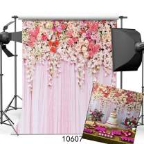 SJOLOON 10x10ft Valentine's Day Backdrop Wedding Pink Flower Backdrop Floral Backdrop for Girl Backdorp Photography Birthday Party Decoration Banner Vinyl Studio Props 10607
