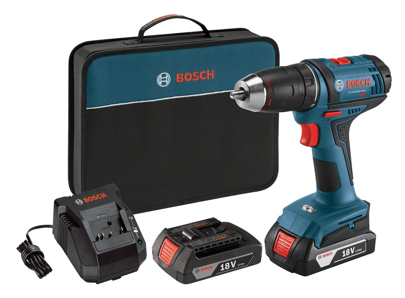 Bosch Power Tools Drill Driver Kit DDB181-02 - 18V Cordless Drill/Driver Tool Set with 2 Lithium Ion Batteries, 18 Volt Charger, & Soft Carry Contractor Bag