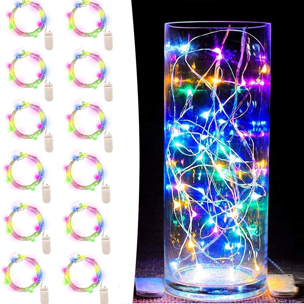 Engilen Fairy Lights 12 Pack 7.2 Feet 20 LED Copper Wire String Lights Decorative Lights Battery Operated (Multicolor 12 Pack)
