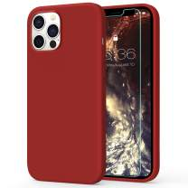 MILPROX Compatible with iPhone 12 Pro Max Case (2020) with Screen Protector, Liquid Silicone Gel Rubber Shell Soft Microfiber Cloth Lining Cushion Cover Case-Red