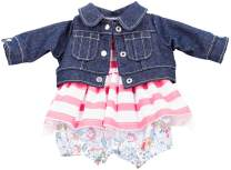 """Gotz Combination Outfit with Denim Jacket Flower Pants and Striped Dress for 16.5"""" Baby Dolls"""