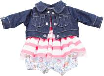 "Gotz Combination Outfit with Denim Jacket Flower Pants and Striped Dress for 16.5"" Baby Dolls"