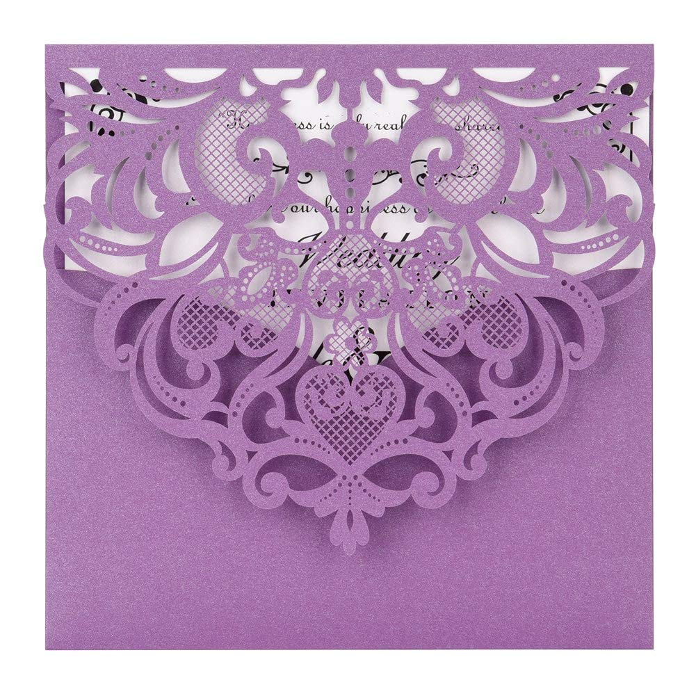 Laser Cut Invitations 50 Pack FOMTOR Laser Cut Wedding Invitations Card Kit with Blank Printable Paper and Envelopes for Wedding,Birthday Parties,Baby Shower Purple