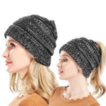 lahualixi Beanies Women - Winter Ski Hat for Messy High Bun Ponytail Black & Red Wool Beanie Stretchy Headbands
