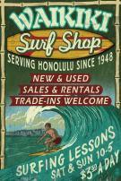 Waikiki Beach, Hawaii - Surf Shop Vintage Sign 34141 (24x36 SIGNED Print Master Art Print - Wall Decor Poster)