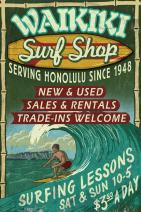Waikiki Beach, Hawaii - Surf Shop Vintage Sign 34141 (24x36 SIGNED Print Master Art Print - Wall Decor Poster)