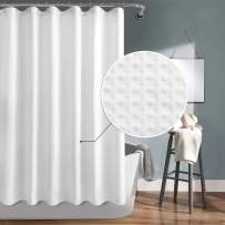 DWCN White Waffle Fabric Shower Curtain with Hooks - Water Repellent Weighted Bathroom Shower Curtain 72 x 72 inches Long with Lead Block