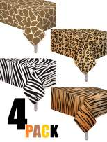 oojami 4 Pack Animal Safari Theme Zoo Print Table Cover/Animal Theme Tablecloth Party Supplies/Ideal for Birthday Parties, Animal Theme Party, Baby Showers, Zoo Jungle Safari Themed Party