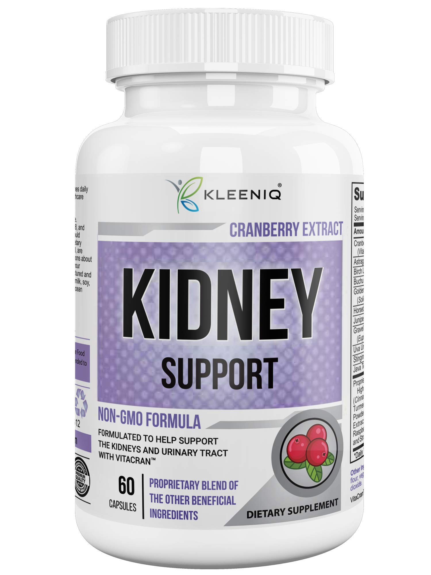 Kidney Cleanse Support Detox Supplement – with Organic Cranberry Extract – Helps Support The Healthy Kidneys and Urinary Tract - 60 Vegetarian Capsules