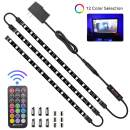 HitLights LED Strip Lights 3 Pre-Cut 12Inch/36Inch LED Light Strip Flexible Color Changing 5050 LED Accent Kit with RF Remote, Power Supply, and Connectors for TV, Home, DIY Decoration