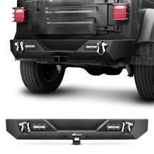Nilight JK-54A 87-06 Rear Compatible for 1987-2006 Jeep Wrangler TJ&YJ,Rock Crawler Bumper with Hitch Receiver & 2X Nilight Upgraded 18W LED Lights Off Road Textured Black,2 Years Warranty