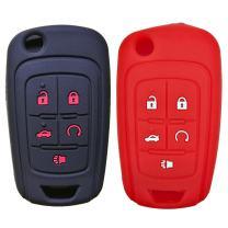 2Pcs Coolbestda Silicone 5buttons Flip Key Fob Cover Case Protector Remote Control Keyless Jacket Bag for Chevrolet Malibu Cruze Camaro Volt Equinox Spark Sonic Black Red