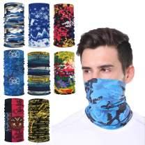 8PCS/Pack Face Mask Bandanas Sports & Casual Multifunction Face Shield Neck Gaiter Headwear Seamless Headwrap Balaclava